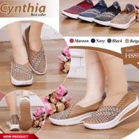 cynthia H889 wedges sepatu rajut