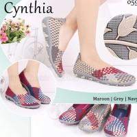 Cynthia 059 ORI sepatu wanita anyaman rajut flat wedges slip on