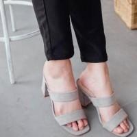 Sepatu Sandal Selop Slippers Wanita High Heels Wedges Korea Import