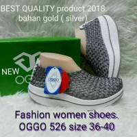 Sepatu OGGO wedges rajut/anyaman tipe 526 - Silver, 36