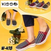 Kiddo w478 sepatu IMPORT anyaman rajut wanita ORI wedges