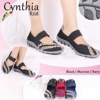Cynthia R68 ORI sepatu wanita anyaman rajut flat wedges slip on