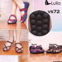 LULIA VS72 ORI sepatu wanita anyaman rajut flat wedges slip on