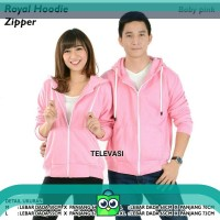 ROYAL HOODIE ZIPPER BABY PINK SIZE M-XXL UNISEX