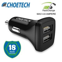 CHOETECH C0019 USB Car Charger 24W/4.8A Dual USB charger fast charging