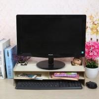 Rak komputer desktop storage meja laptop kayu monitor praktis - HPR032