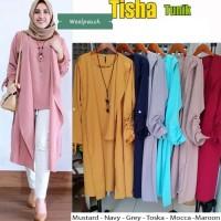 Baju Atasan Wanita Tisha Tunik Blouse Baju Muslim Blus Muslim - Kuning