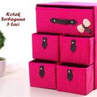 kotak serbaguna 5 laci warna darkpink Limited