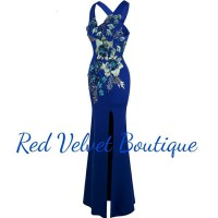 Midnight Gala Blue Prom Sexy Dress Flower Embroidery Maxi Gown IMPORT