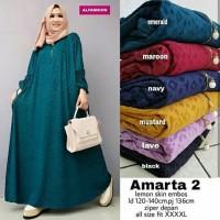 Amarta Gamis Jumbo Busui Jersey Emboss Muslim Dress Big size Murah