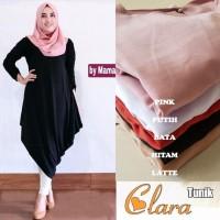 Baju Atasan Wanita Clara Tunik Blouse Baju Muslim Blus Muslim - latte