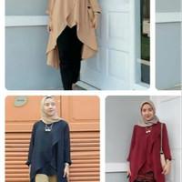 Baju atasan Wanita Hanum Tunik Blouse Baju Muslim Blus Muslim - Hitam