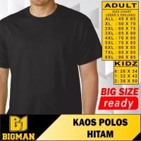 BIG SIZE - BIGMAN KAOS POLOS HITAM JUMBO COTTON SAMPAI 8 XL BIGSIZE