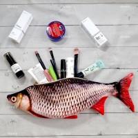 Pouch Ikan Kanvas untuk make up atau tempat pensil