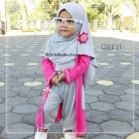 Gisela Set - Setelan Busana Muslim Model Cardigan - Busana Anak 3-4thn