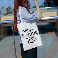 Tas Korea Putih Simple White Tote Bag Coating Canvas (WYK36)