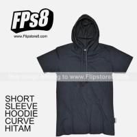 kaos polos hoodie lengan pendek - hitam, xl