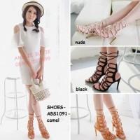 Sepatu Sandal Pesta Wanita Gladiator High Heels Stiletto Korea Import