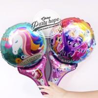 balon pentung unicorn / balon stick foil unicon / balon souvenir ultah