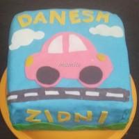 Cake ulang tahun fondant boys 2D/kue ulang tahun fondant mobil laki 2D