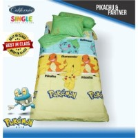 "BED COVER CALIFORNIA  PIKACHU & PARTNER "" SINGLE 120 x 200"