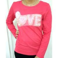 Baju Kaos Wanita Fashion Korea Hiasan Mutiara Love