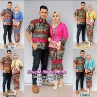 Baju Batik Couple Kebaya Batik Yasmine Set Rok Lilit Hem Kemeja Cowok