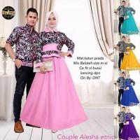 Baju Batik Couple Alesha Etnic Gamis panjang Hem Kemeja Cowok