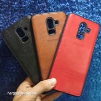 Samsung J8 2018 Elegan Leather Back Case - Silikon Bahan Kulit Design