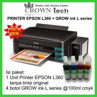 Printer Epson L360+ tinta GROW INK L series formula Anti buntu