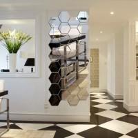 Hiasan Dinding Kaca Cermin Acrilic Hexagonal Mirror Wall Sticker Segi