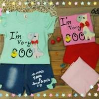 Pakaian Anak Perempuan Setelan Baju Kaos Import Celana Jeans Hotpans