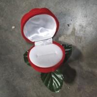 Tempat Cincin Kotak Bentuk Bunga Mawar Daun Bagus Tanaman Berkualitas