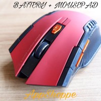 Mouse Wireless GAMING MOUSE MIRIP FANTECH MOUSE PAD BATTERY RED