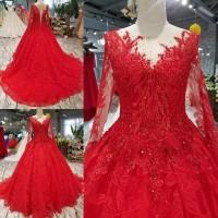 Dress Lengan Panjang dengan Sulaman Renda Bunga