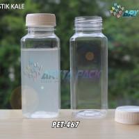 PET467. Botol plastik minuman 250ml jus kale kotak tutup putih segel