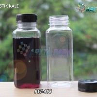PET468. Botol plastik minuman 250ml jus kale kotak tutup hitam segel
