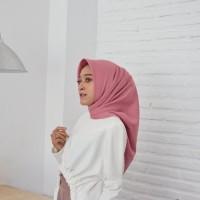 Jilbab hijab segi empat pink salem square scarf kerudung katun