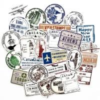Sticker Stiker Koper 55 Pcs Desain Cap Paspor Stamp Travel Rimowa