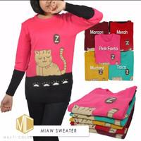 Atasan Wanita Sweater Miaw Roundhand Cewek Baju Rajut Wanita