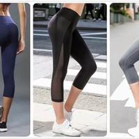 Legging Sport Celana Sport Senam Gym 3/4 Yoga Fitness Olahraga Wanita