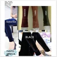 Celana Panjang Wanita Legging Bludru Velvet Korea Pants Import Black