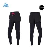 Aonijie 6028 Women Legging Pant 2 in1 - Celana Olahraga Wanita BLACK