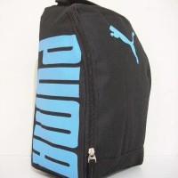 Tas Sepatu Futsal Bola Puma Black Soft Blue Bahan D300
