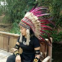 warbonnet/topi indian, topi carnaval, bulu ayam