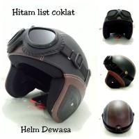 Helm Bogo Retro Kulit Klasik SNI Hitam Coklat Kacamata