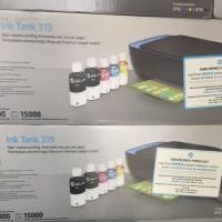 HP Ink Tank 319 print scan copy extra tinta black (2 botol)
