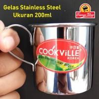 Gelas Stainles Steel 200ml - Gelas takar - Gelas Sloki