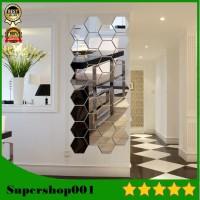 Hiasan dinding acrylic HEXAGONAL mirror wall stiker cermin dekorasi