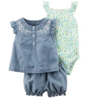 Baju Anak Import Romper Bayi Romper Set 3in1 Denim Shabby Chic